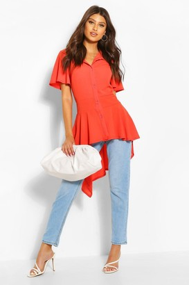 boohoo Button Front Shirt With Waterfall Hem