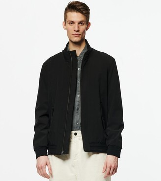Andrew Marc Buxton Funnel Neck Bomber With Knit Trim