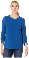Calvin Klein Clinch Sleeve Blouse (Dark Mallard) Women's Clothing