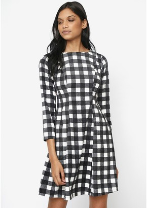Compania Fantastica Short Flared Gingham Dress with Boat Neck and 3/4 Sleeves