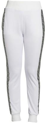 Fendi Silver Logo Stripe Track Pants