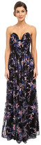 Nicole Miller Embroidered Flowers Strapless Plunge Gown