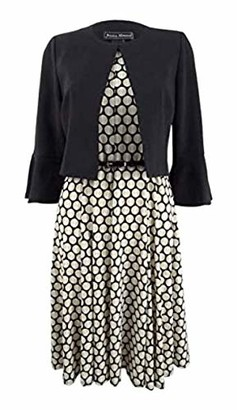 Jessica Howard Women's Bell Sleeve Jacket Seamed Dress with and Belt