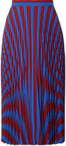 Maison Margiela Pleated Striped Crepe Midi Skirt - Blue