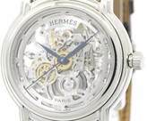 Hermes Sesame Stainless Steel & Leather Automatic 36mm Mens Watch