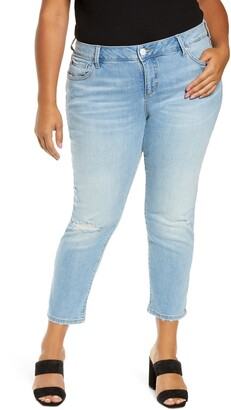 SLINK Jeans Distressed Crop Boyfriend Jeans