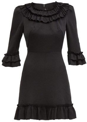 The Vampire's Wife The Gloria Ruffled Silk-blend Mini Dress - Black
