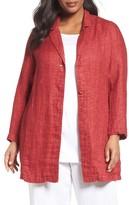 Eileen Fisher Plus Size Women's Organic Linen Notch Collar Jacket