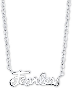 "Unwritten Fearless"" Station Pendant Necklace in Sterling Silver, 16"" + 2"" extender"