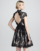 Alice + Olivia Jayna Lace Keyhole Dress, Black