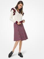 Michael Kors Ruffle-Trim Stripe Cable Cashmere Tennis Sweater