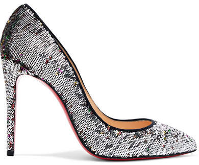 Christian Louboutin Pigalle Follies 100 Sequined Canvas Pumps - Silver