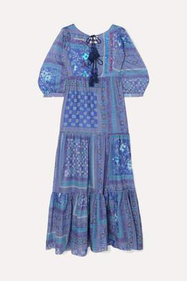Anjuna - Tasseled Sequined Printed Cotton Maxi Dress - Blue