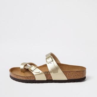 River Island Birkenstock gold Mayari toe thong sandals