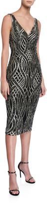 Rachel Gilbert Sequin Hand-Embellished V-Neck Sleeveless Dress
