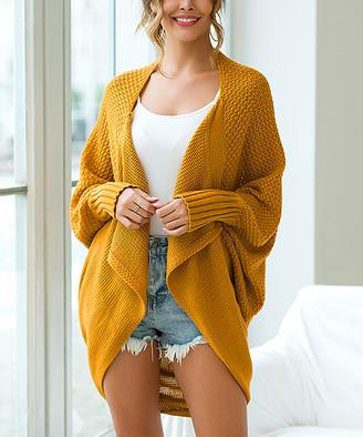 Maison Mascallier Women's Pullover Sweaters Yellow - Yellow Cape-Sleeve Open Cardigan - Women