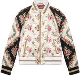 Gucci Rose print silk bomber jacket