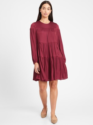 Banana Republic Satin Tiered Mini Dress