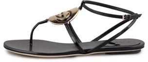 Gucci Patent Flat Logo Thong Sandal, Black