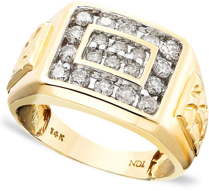 Macy's Men's 14k Gold Ring, Diamond (1 ct. t.w.)