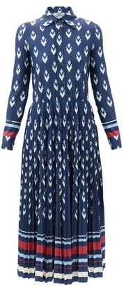 Valentino Geometric-print Jersey Shirt Dress - Navy