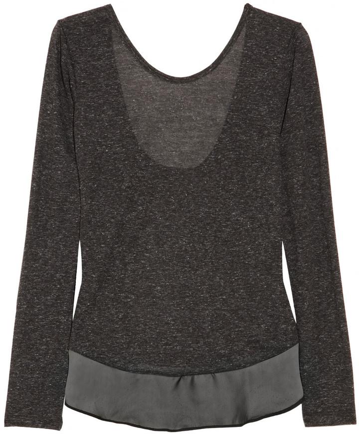 LnA Celine chiffon-trimmed jersey top