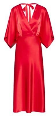 HUGO BOSS Lustrous V-neck dress with back-neck tie detail