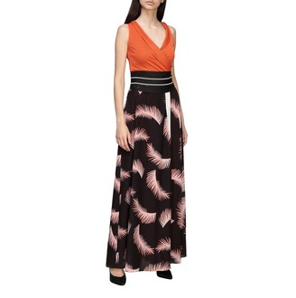 Hanita Long And Bi-material Dress With Leaf Print