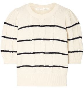 Veronica Beard Moss Striped Cable-knit Cotton Sweater