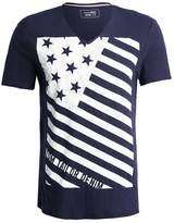 Tom Tailor Denim V Neck With Flag Print Print Tshirt Black Iris Blue
