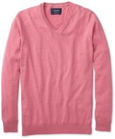 Charles Tyrwhitt Pink Cotton Cashmere V-Neck Cotton/cashmere Sweater Size Large
