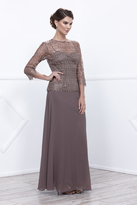 Unique Vintage Mocha Three-Quarter Sheer Sleeve Embellished Long Dress