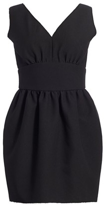 MSGM V-Neck Cinched Waist Balloon Dress