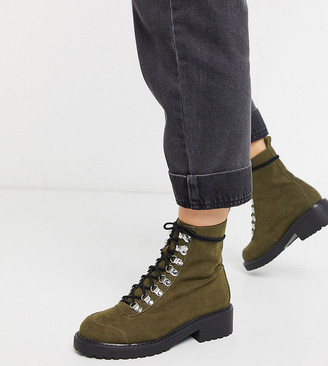 London Rebel wide fit lace up ankle boots in khaki