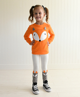 Orange & Gray Fox Top & Leggings - Toddler & Girls