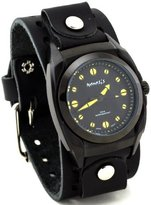Nemesis #B081Y Men's Premium Black IP Wide Cuff Leather Band Watch