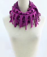 Purple Tassel-Trim Baby Infinity Scarf
