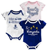 MLB Kansas City Royals Girls 3pk Bodysuit Crawlers