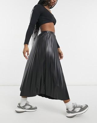 ASOS DESIGN leather look pleated midi skirt in black