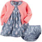 Carter's Baby Girl Tribal Linen-Blend Dress & Cardigan Set