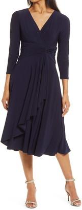 Brinker & Eliza Long Sleeve Faux Wrap Dress