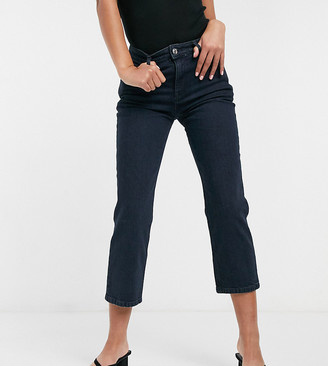 ASOS DESIGN Petite high rise stretch 'slim' straight leg jeans in darkwash
