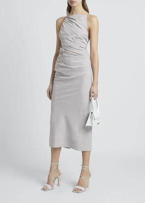 Jacquemus Gathered Cotton-Linen Strappy Midi Dress