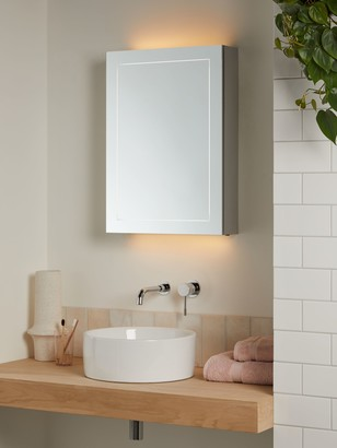 John Lewis & Partners Enclose Single Mirrored and Illuminated Bathroom Cabinet
