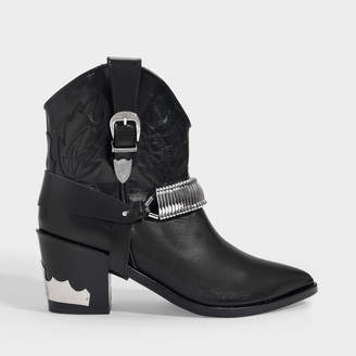 Toga Pulla Western Ankle Boots In Black Leather