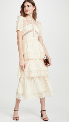 Self-Portrait Lace Trim Midi Dress