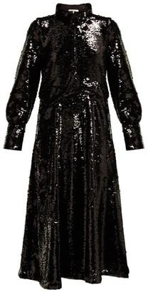 Ganni Sonora Sequinned Midi Dress - Womens - Black