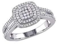 Sonatina Sterling Silver 0.5 TCW Diamond Cluster Halo Split Shank Ring