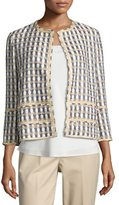 Lafayette 148 New York Aisha 3/4-Sleeve Tweed Jacket, Plus Size