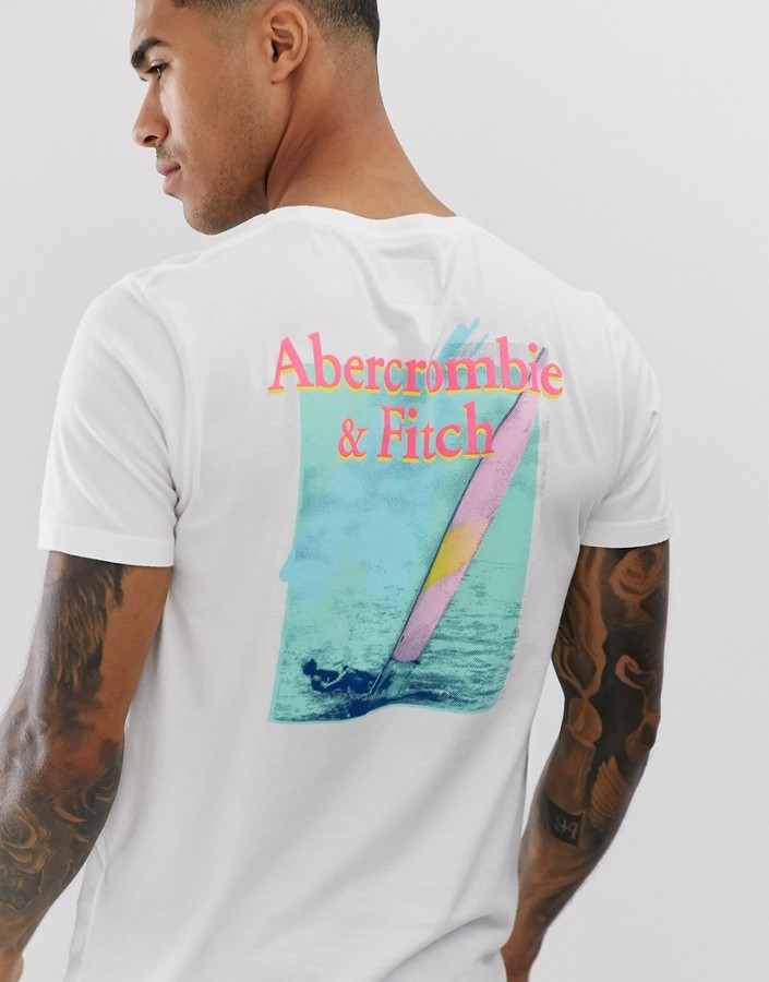 Abercrombie & Fitch logo and back sailboat print t-shirt in white